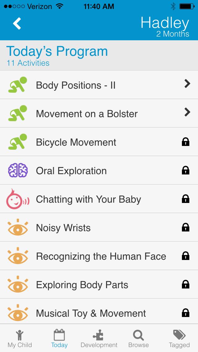 BabySparks app interface.
