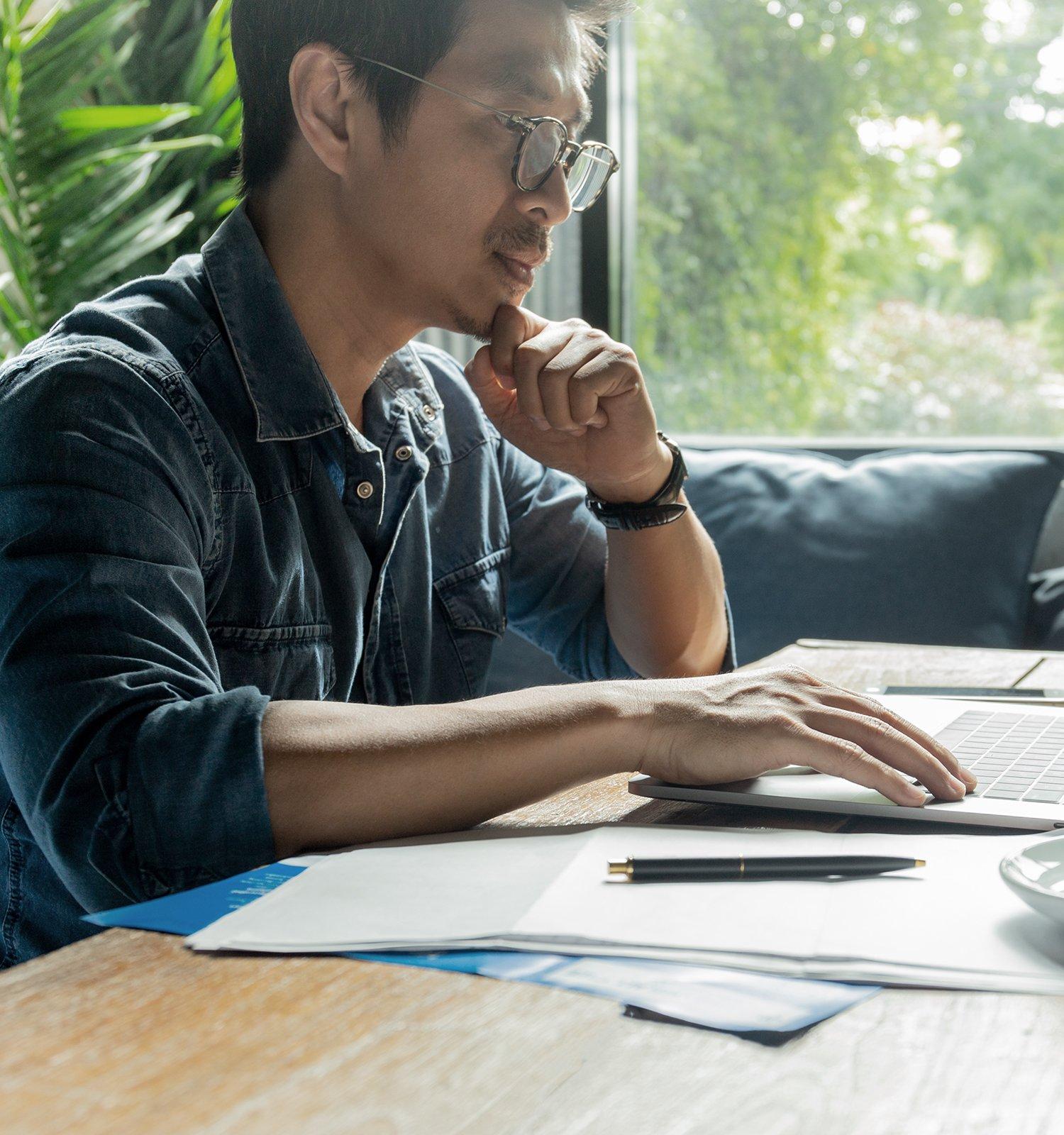 Man banking online