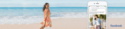 Woman on beach in soft surroundings brand clothes