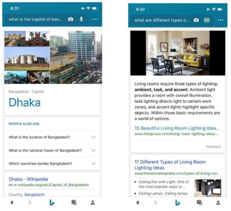 Bing Mobile Voice Search Results