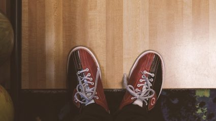 top view of bowling shoes vintage looking photo