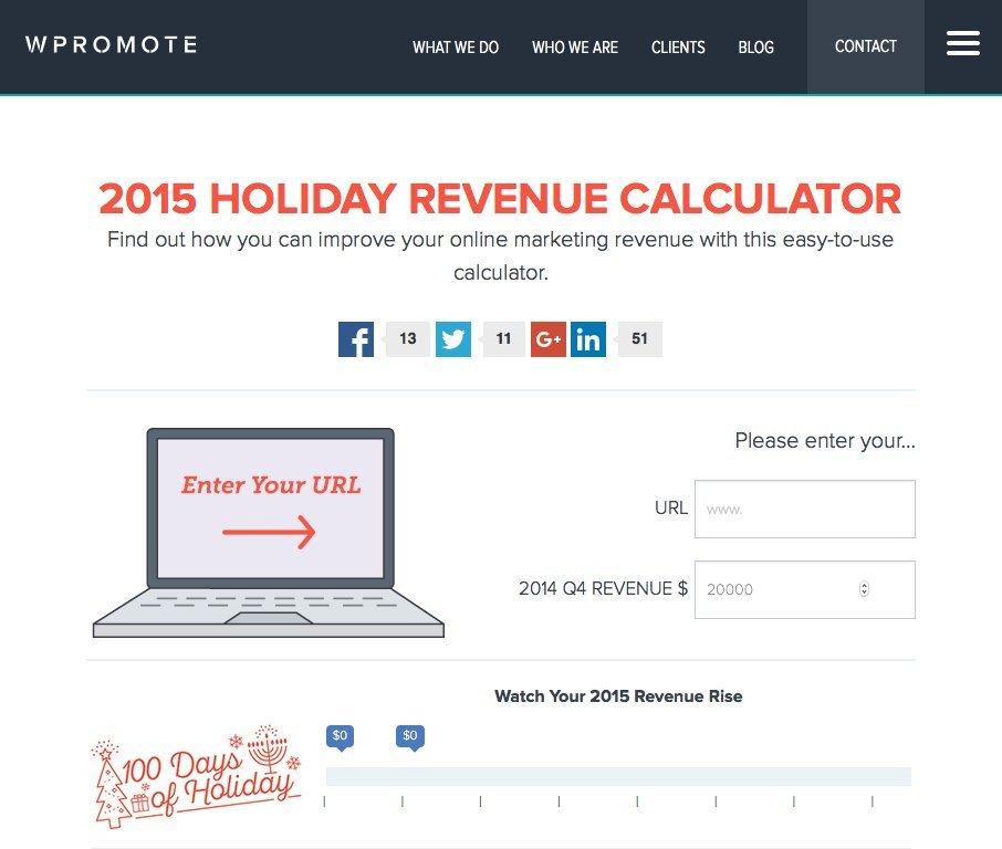 wpromote 2015 holiday revenue calculator