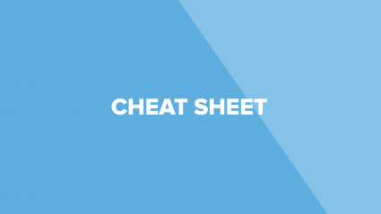 "Text on blue background that says ""cheat sheet"""