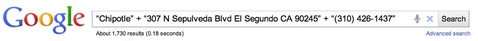 Chipotle location in Google search bar