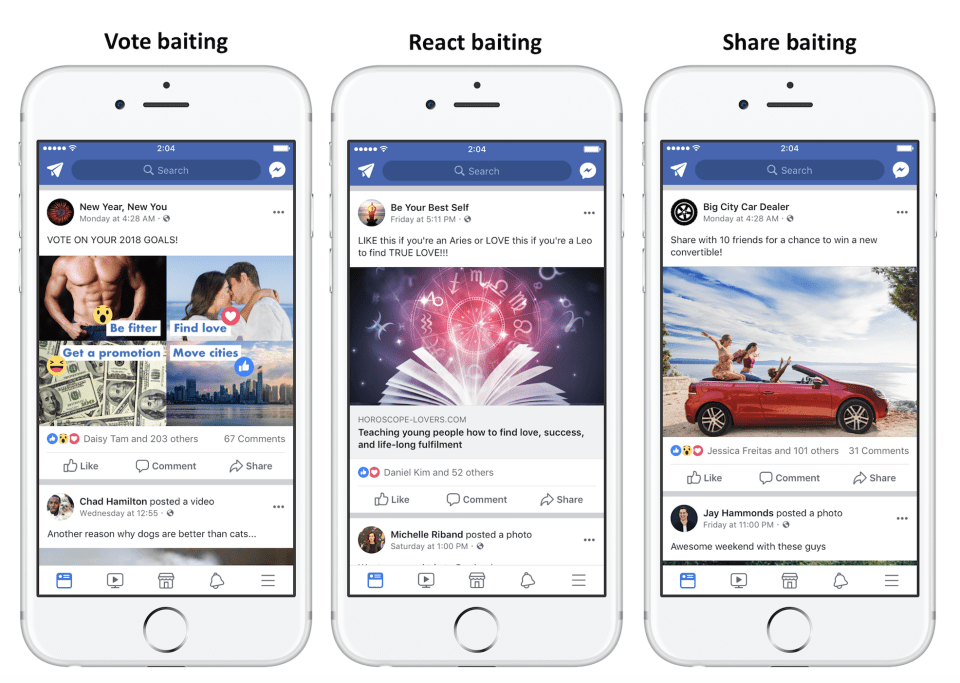 Types Of Engagement Bait Posts That Facebook Will Penalize