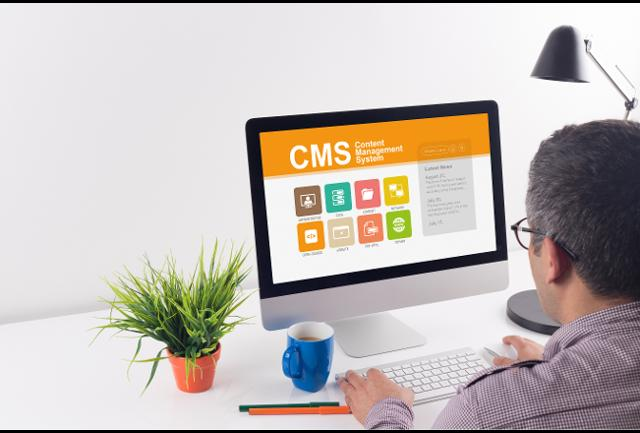 Computer with CMS page on screen