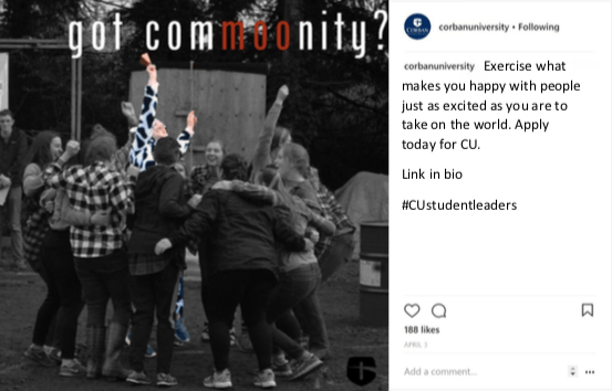 corban university instagram post community