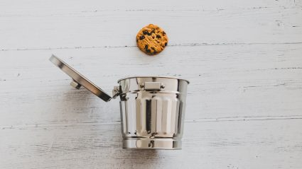 chocolate chip cookie and open trash can