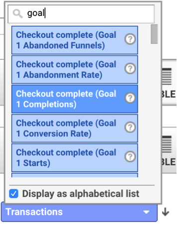 Adding a goal in Google Analytics.