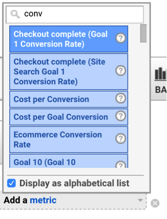 Adding conversion rate in Google Analytics.