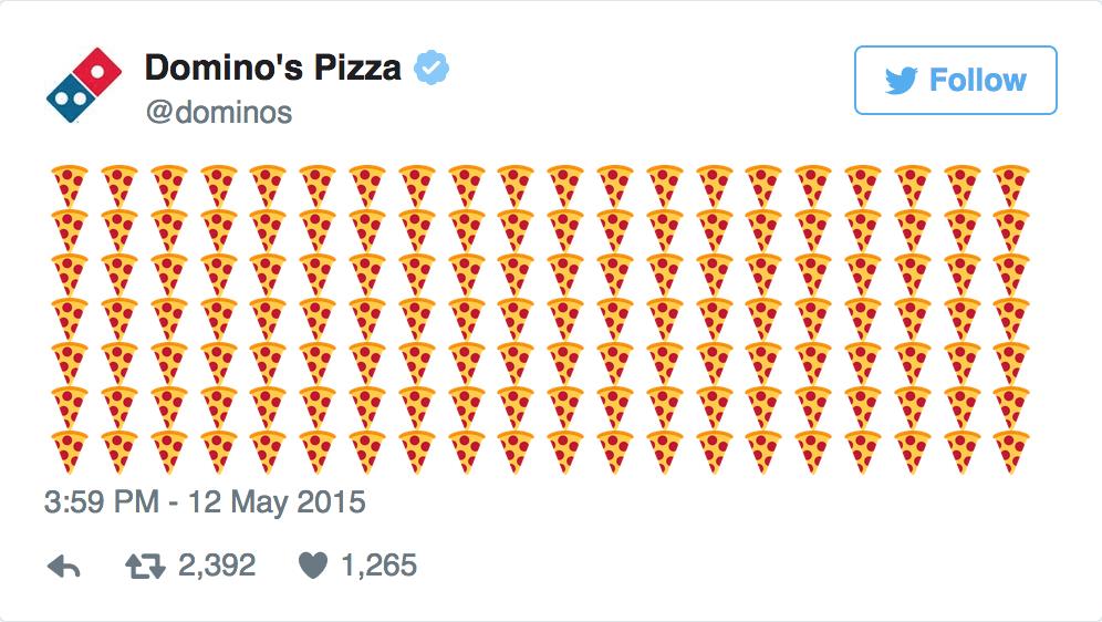 Domino's pizza using pizza emojis