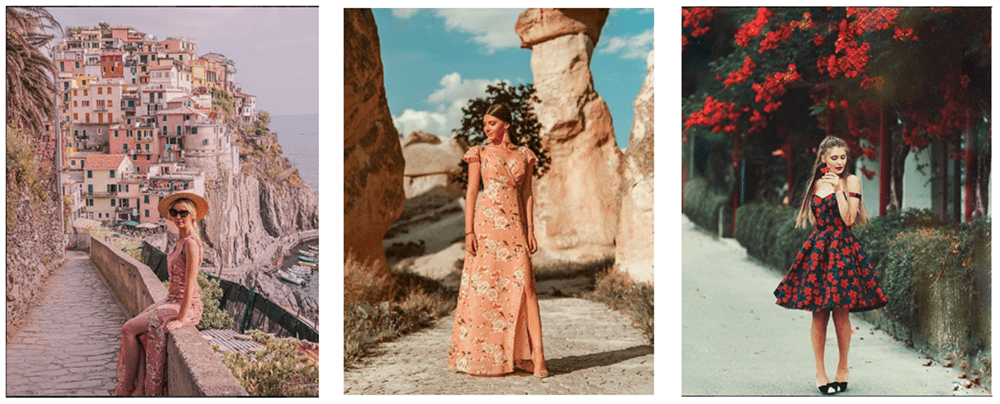 Stylized photos of fashion in outdoor environments