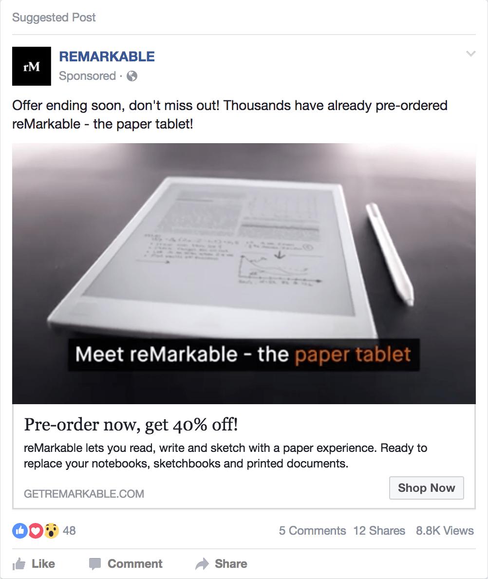 facebook ad for reMarkable paper tablet