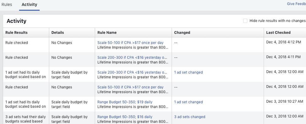 Facebook Activity tab