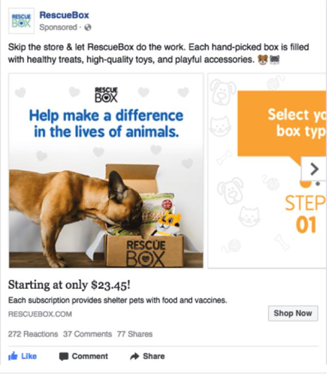 facebook carousel ad for RescueBox