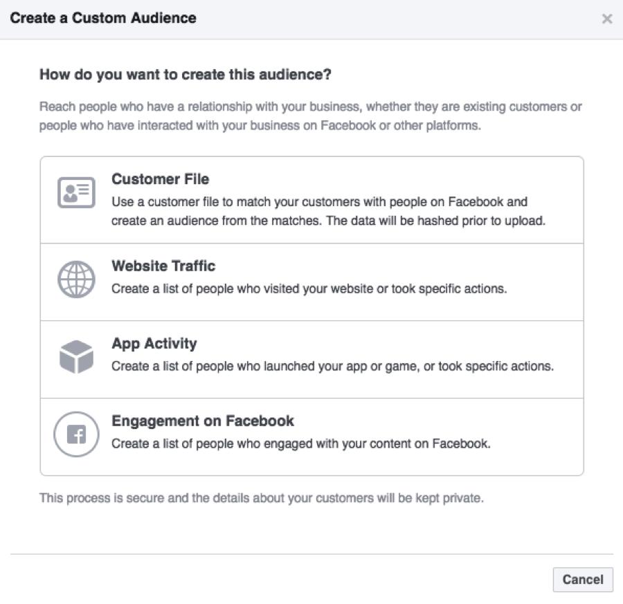 facebook ad dashboard custom audience options