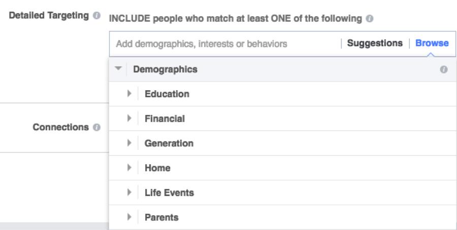 facebook targeting demographics education financial etc