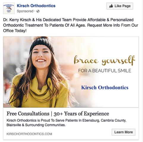 orthodontist facebook sponsored ad