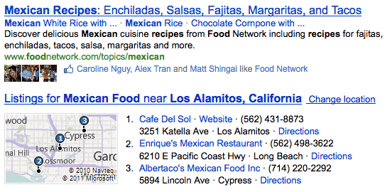 Google search with users that have visited restaurant