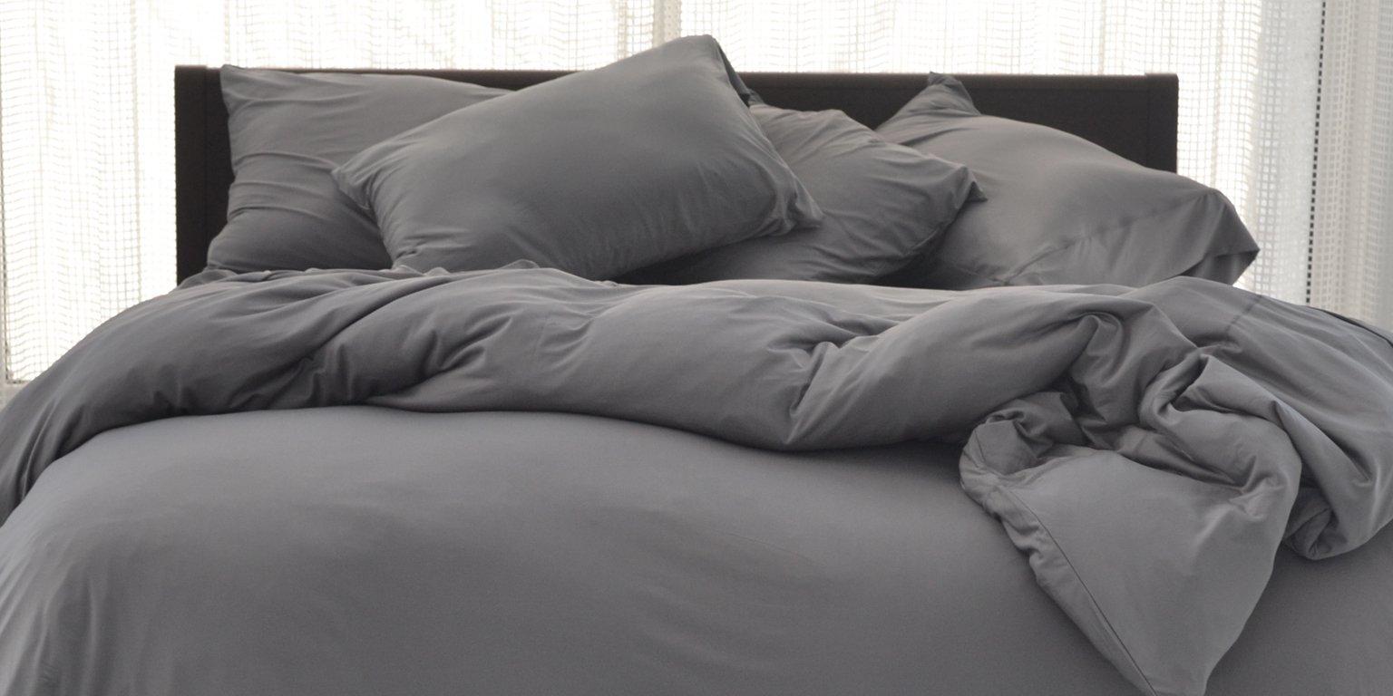 sheex grey sheets on bed