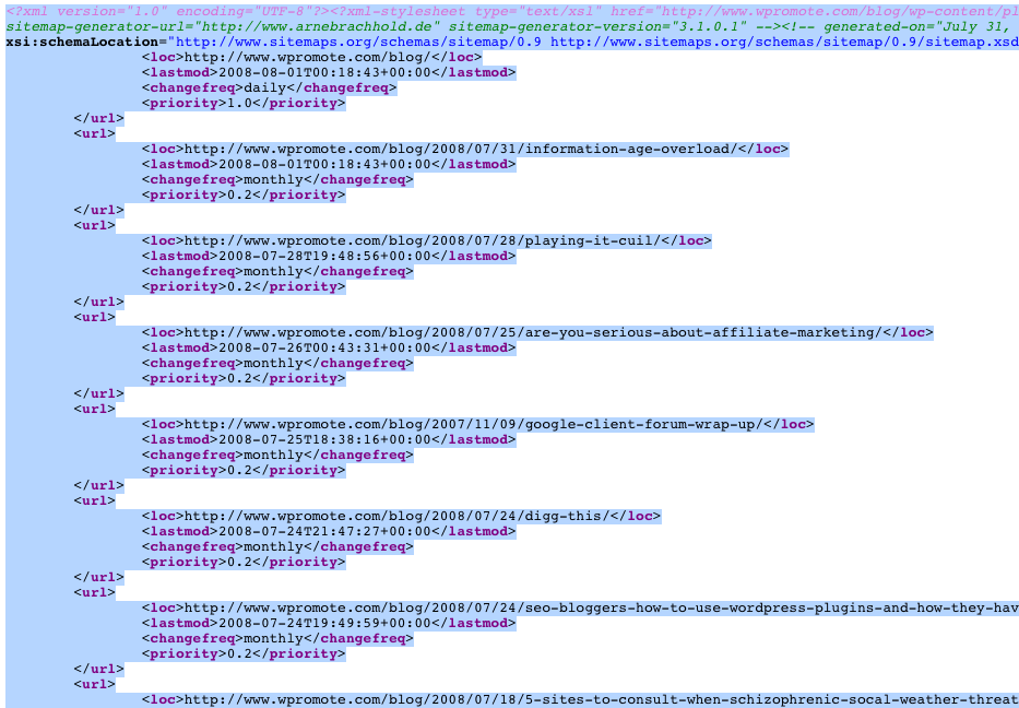 generated old sitemap