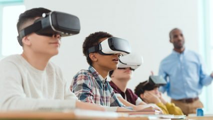Students with virtual reality glasses