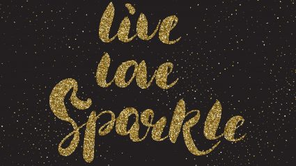 gold glitter text on black background