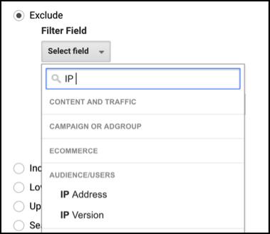 exclue IP address screenshot