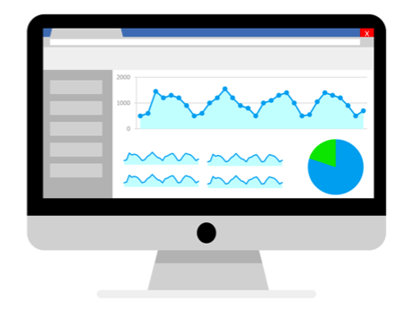 illustration of computer screen with analytics