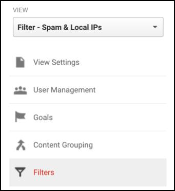 Filter dropdown menu