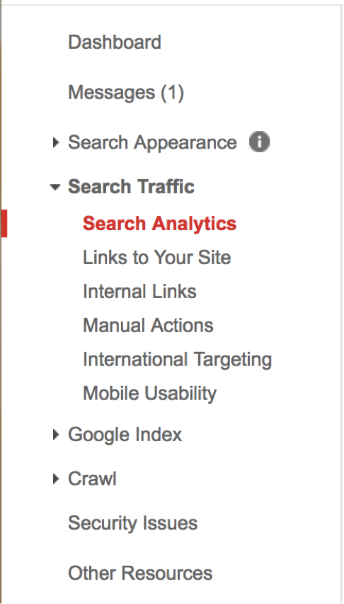 search traffic in search console navigation