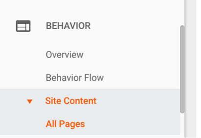Looking into site content in Google Analytics.