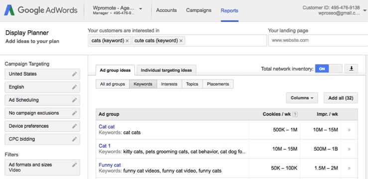 google adwords display planner screenshot