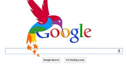 Google hummingbird logo and search field