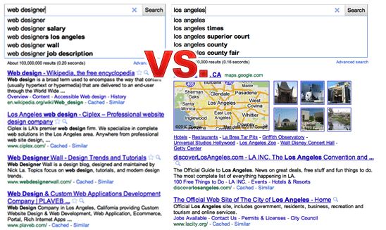 Google Instant: What should come first business or area?