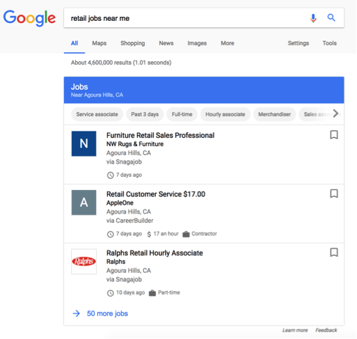 Google For Jobs example search screenshot
