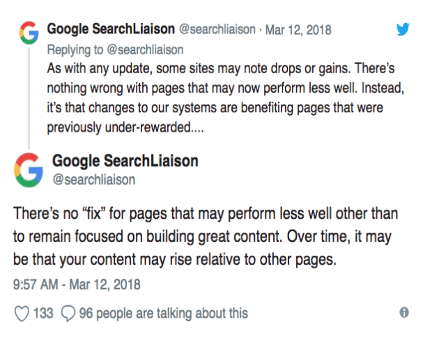 Google search liaison tweets
