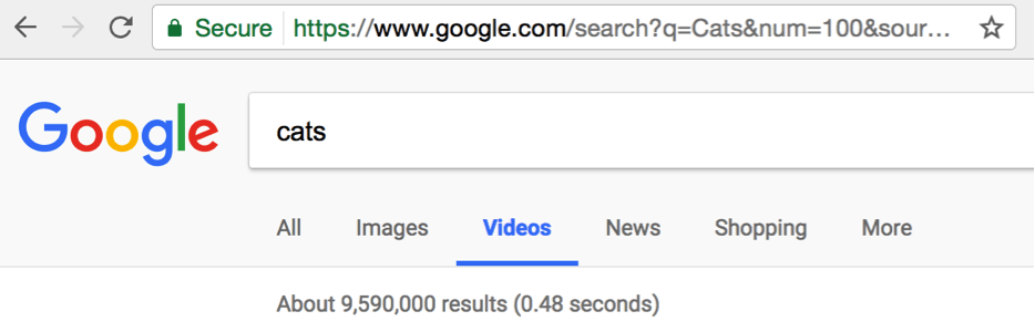 Google SERPS keyword video search screenshot