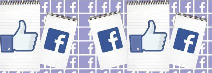 purple facebook icon pattern background with notebook with blue facebook icon