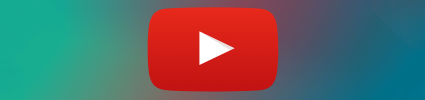 large youtube play button on gradient background
