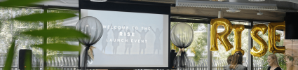 RISE presentation up on screen at Wpromote office