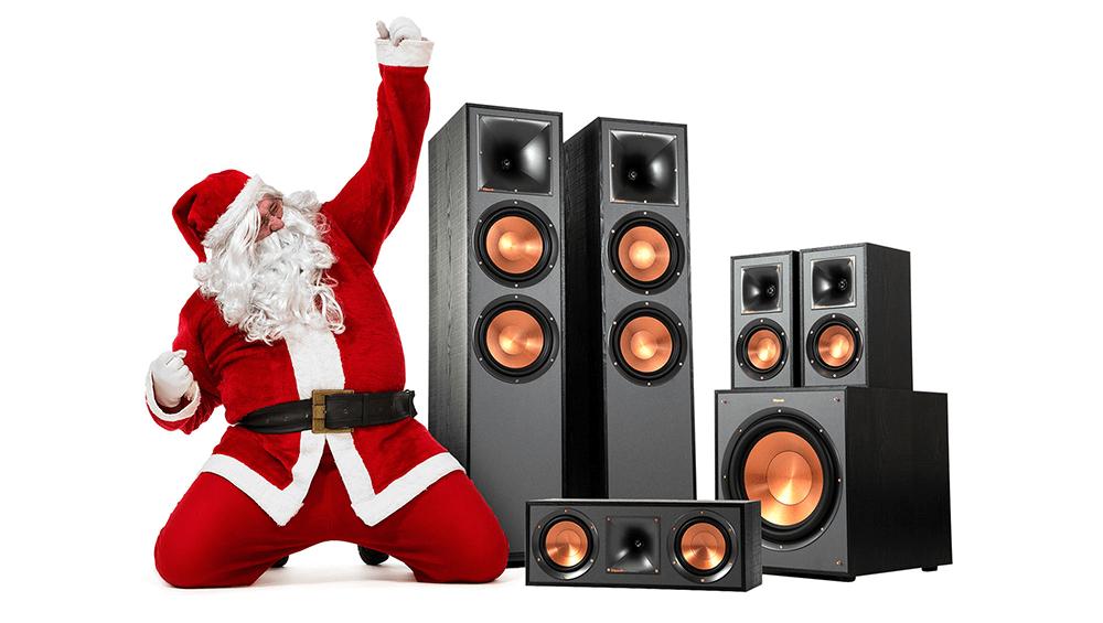 santa with klipsch speakers