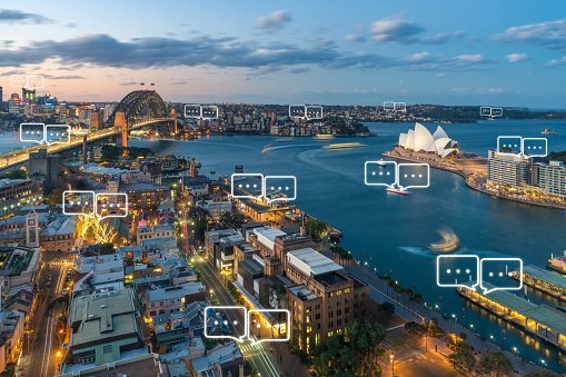 Cityscape with talk bubbles showing marketing opportunity
