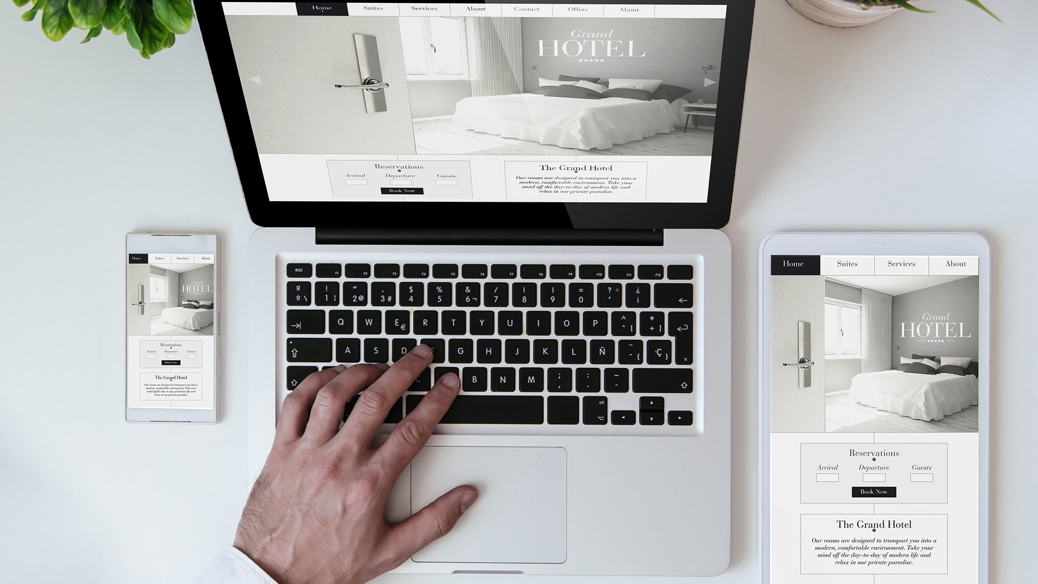 hotel website on laptop tablet and smart phone