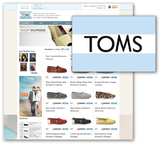 Product landing page for TOMS.