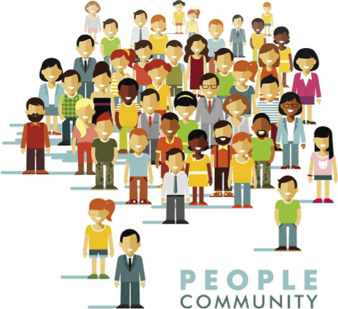 "illustration of people and words ""people community"""