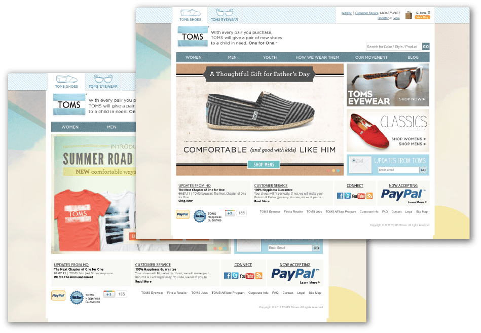 Landing pages for TOMS.
