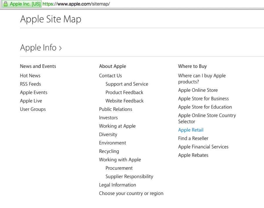 apple site map