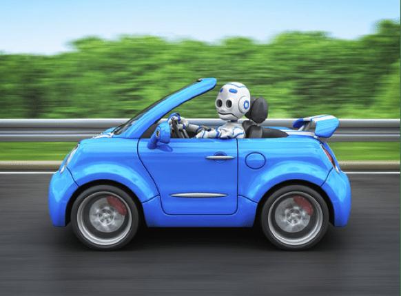 cartoon robot driving car