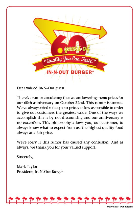 IN 'N' OUT 60th anniversary hoax letter from corporate